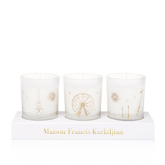 Three scented candles coffret